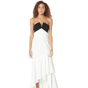 JILL STUART Strapless Ruffle Gown in Black&White